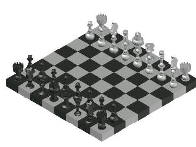3D Chess Board and Pieces