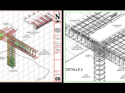 Construction details, beams, columns, slab